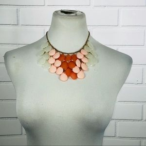 NWT Handmade Pink, Red & White Statement Necklace